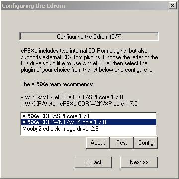 Pilih setingan untuk CDROM atau image file